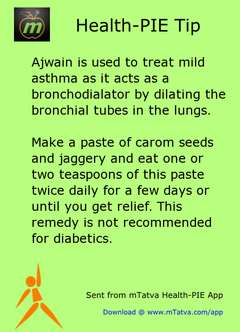 ajwain is used to treat mild asthma as it acts as a bronchodialator by dilating 178.png