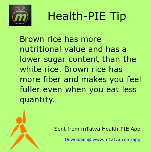 brown rice has more nutritional value and has a lower sugar content than the white 109.png