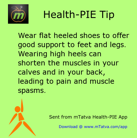 wear flat heeled shoes to offer good support to feet and legs wearing high heels 39.png